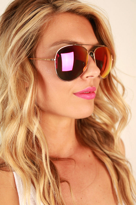 Reflect on it Aviator Sunglasses in Sangria