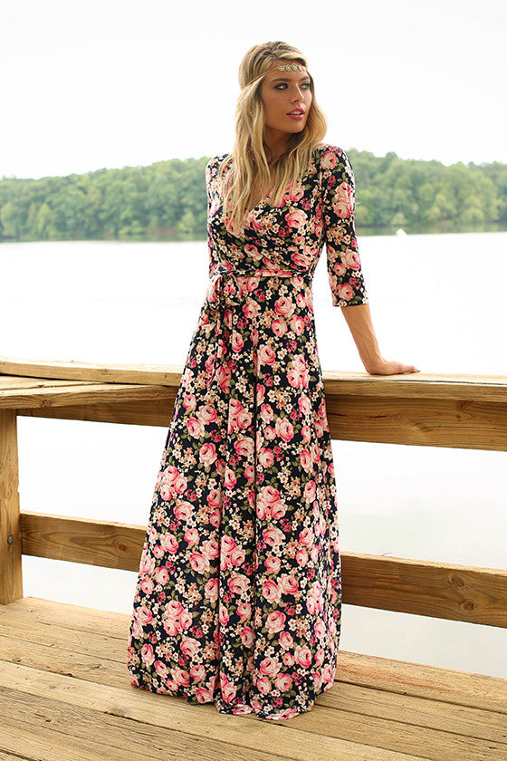 The Fields Of Pretty Maxi In Navy English Garden Rose