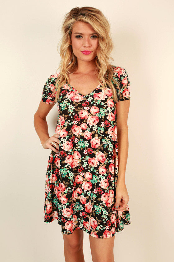 The Emma Shift Dress In English Garden Rose