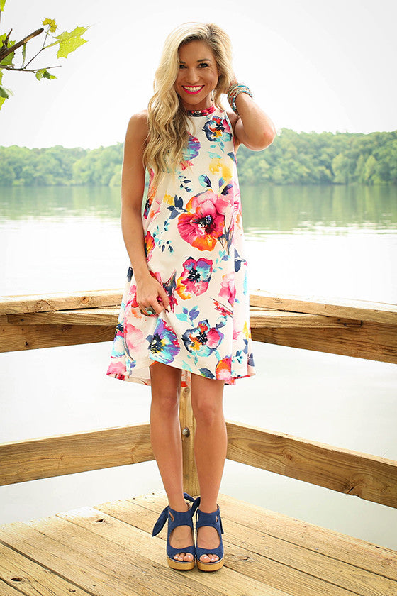The Lola Tank Dress in Flamingo Floral