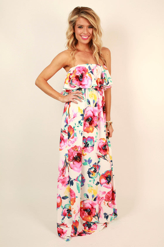 The Grace Ruffle Maxi in Flamingo Floral