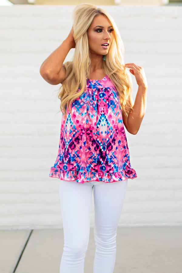 The Brighton Babydoll Tank in Bubble Gum Tie Dye