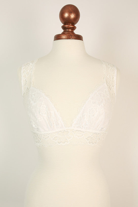 Triangle Back Lace Bralette in White
