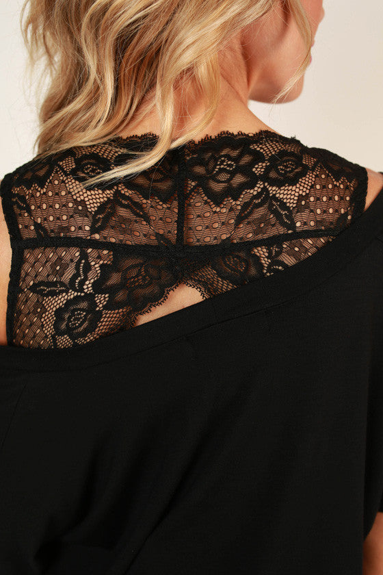 Triangle Back Lace Bralette in Black
