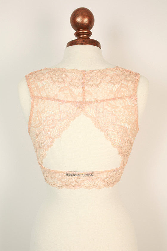 Triangle Back Lace Bralette in Nude