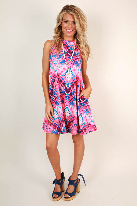 The Lola Tank Dress in Bubble Gum Tie Dye