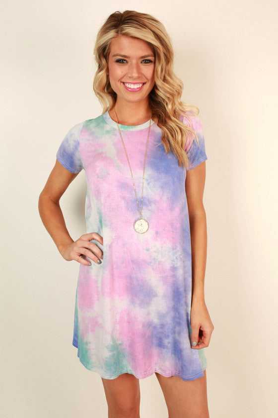 Cotton Candy Tie Dye Shift Dress in Pink