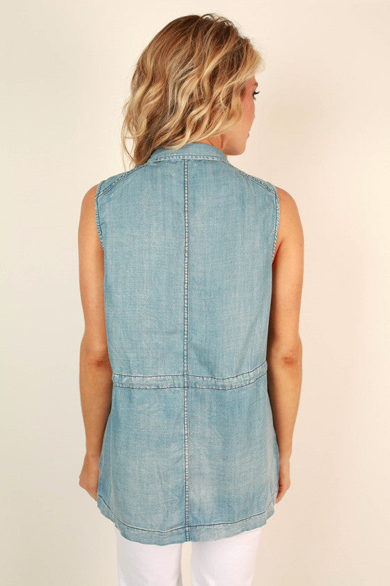 Sea Breeze Kisses Chambray Vest