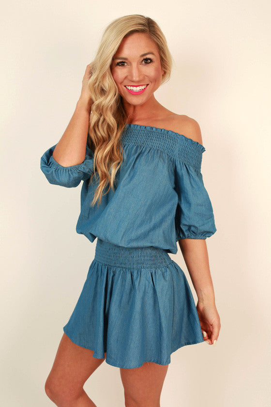 Chambray & Chardonnay Off Shoulder Dress