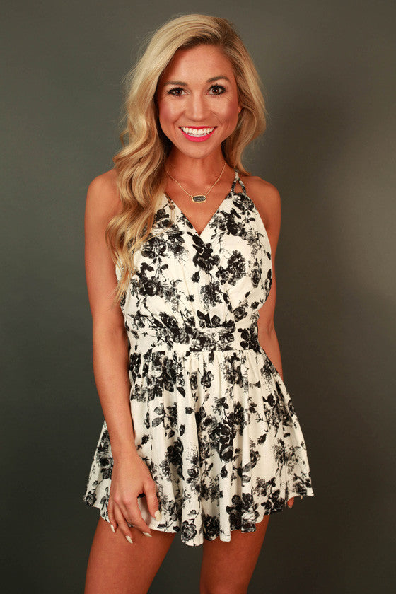 Fall in Love With Me Floral Romper in Black