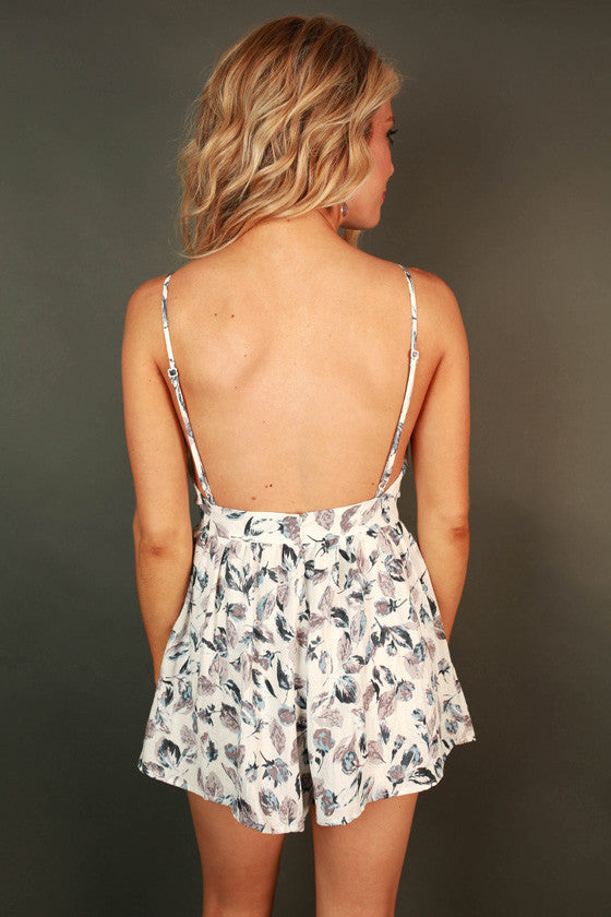 Fall in Love With Me Floral Romper in Lilac Grey