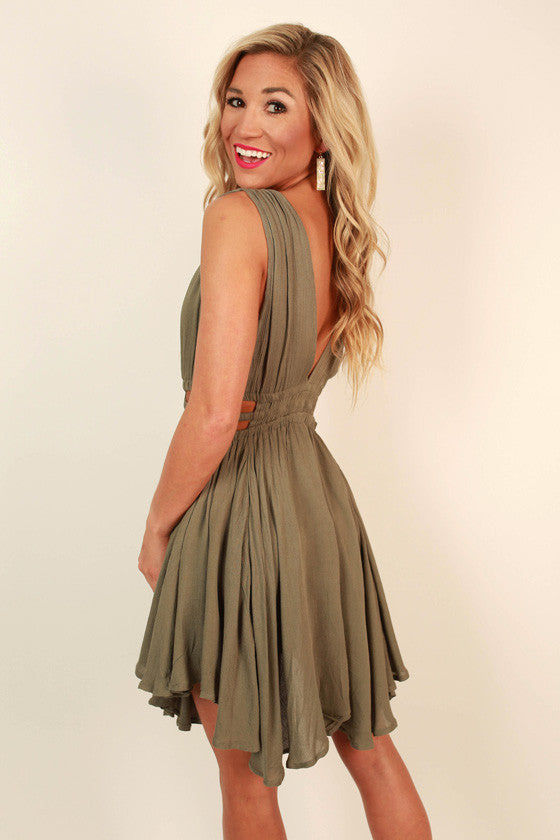 Grecian Gorgeous Cut Out Dress in Army Green