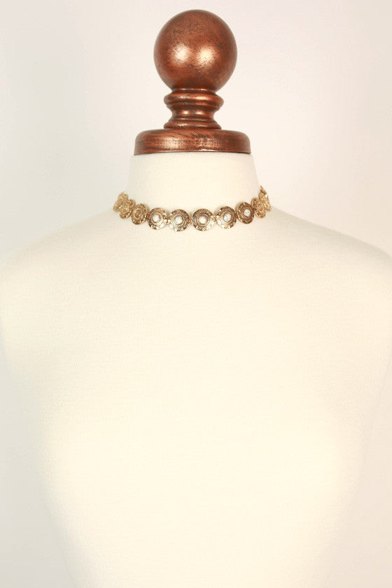 Golden Goddess Necklace in White