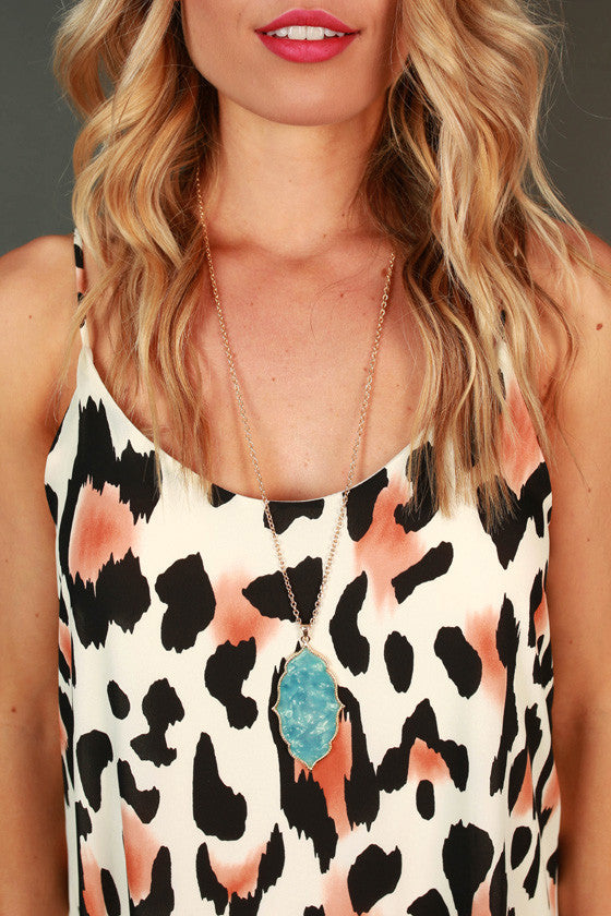 Classy in the City Necklace in Aqua