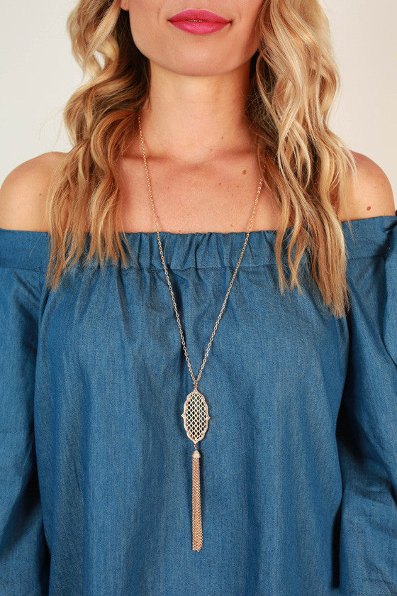 Golden Glam Tassel Necklace