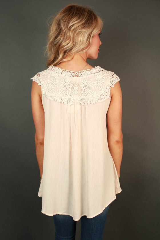 Royal Brunch Shift Crochet Tank in Cream