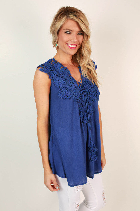 Royal Brunch Shift Crochet Tank in Royal Blue
