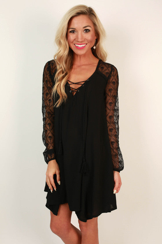 Friends in Florence Shift Dress in Black