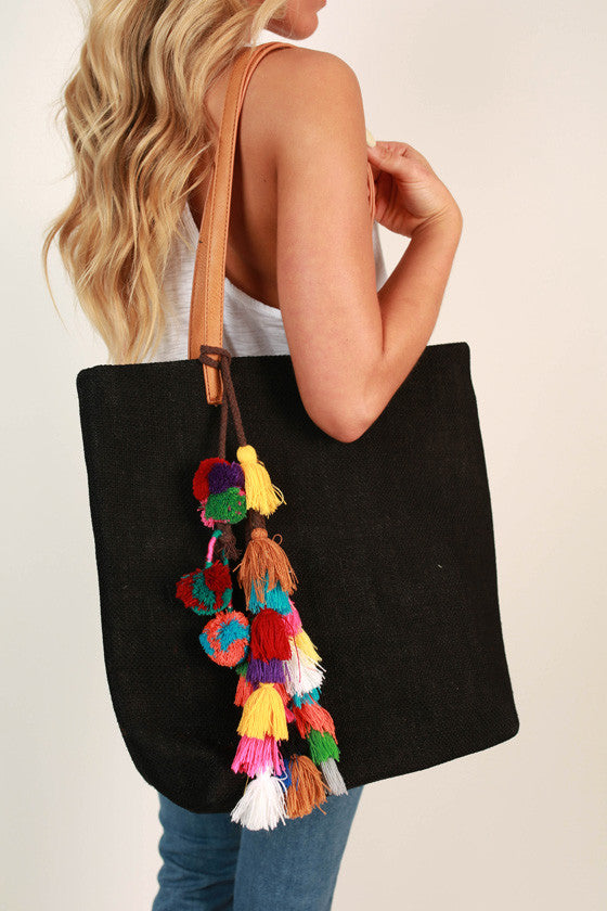 Shake It Pom Pom Tote in Black