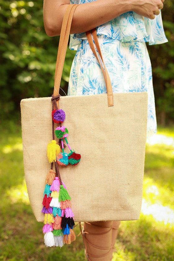 Shake It Pom Pom Tote in Tan
