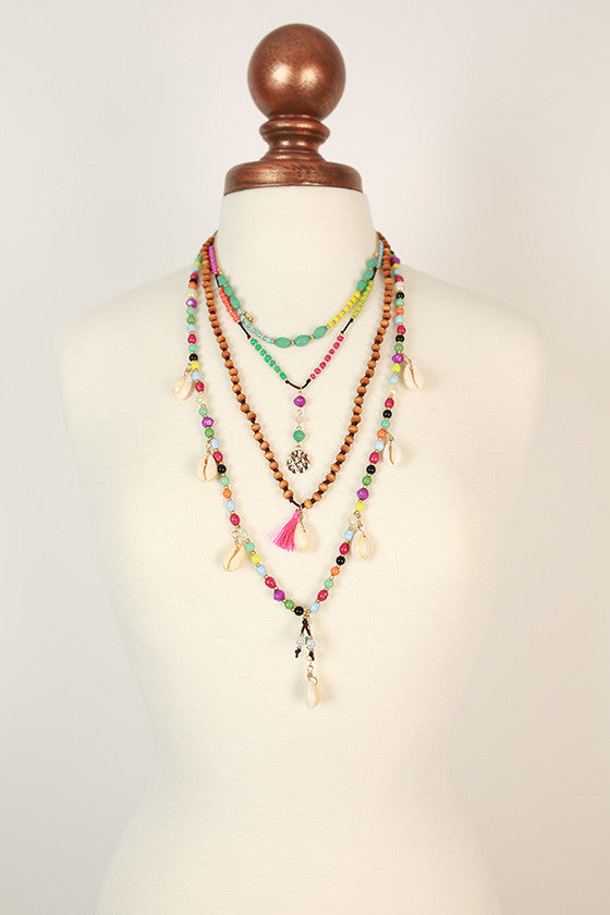 Beach Babe Shell & Tassel Necklace in Multi
