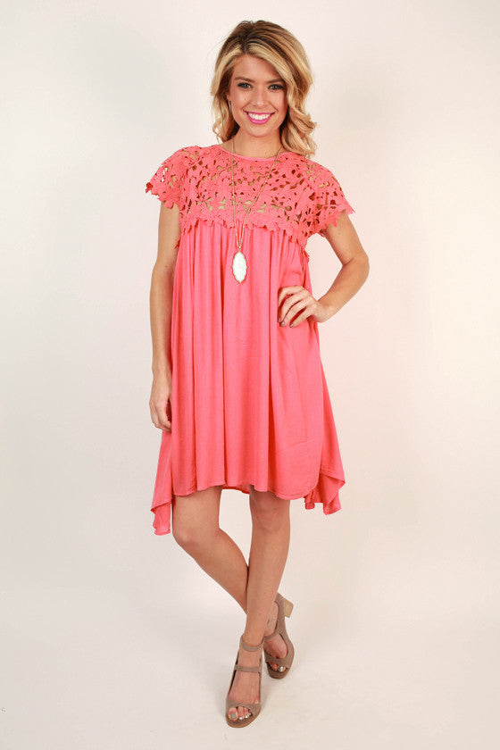 13e17d275bb Croquet   Crochet Babydoll Dress in Coral • Impressions Online Boutique