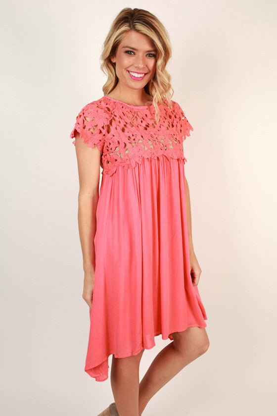 Croquet & Crochet Babydoll Dress in Coral