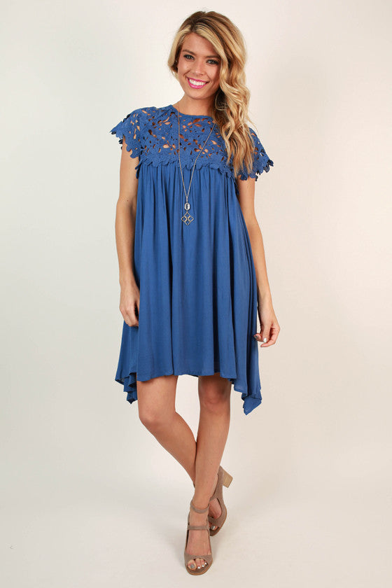 Croquet & Crochet Babydoll Dress in Cobalt