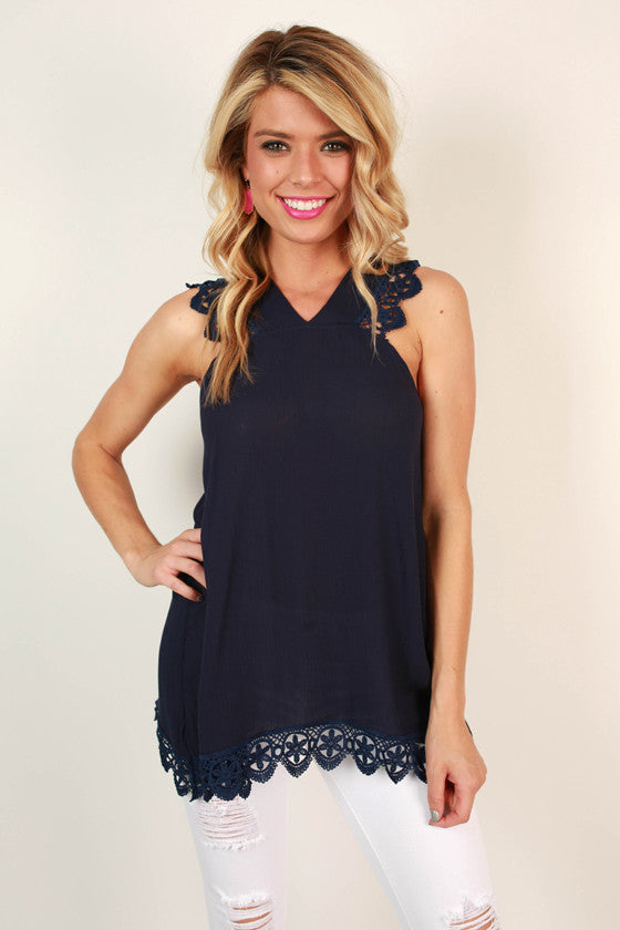 Falling in Love Crochet Tunic in Navy