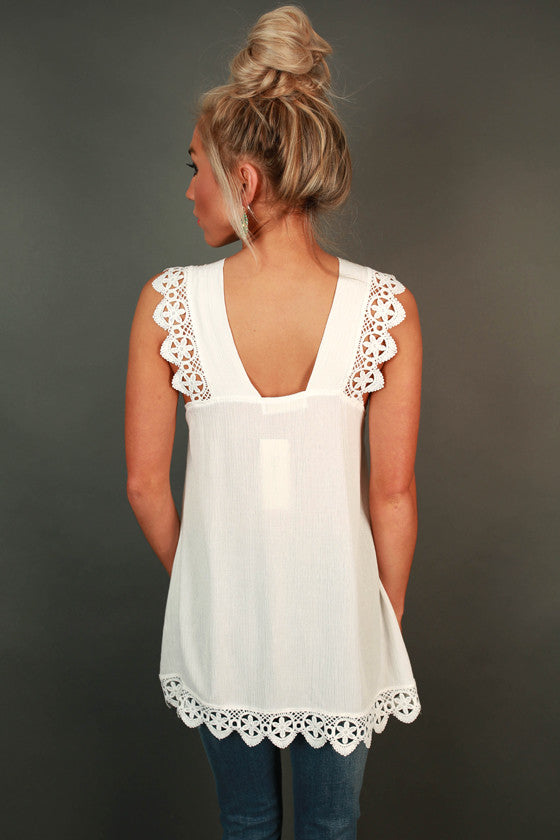 Falling in Love Crochet Tunic in Ivory