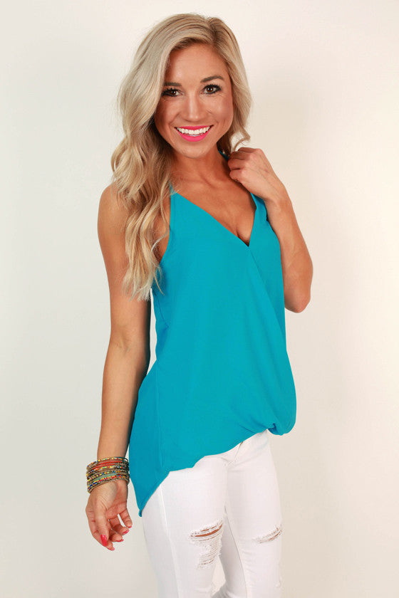 Halter Hottie Tank in Aqua Sky