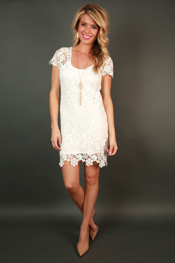 Pretty in Paris Crochet Dress in White