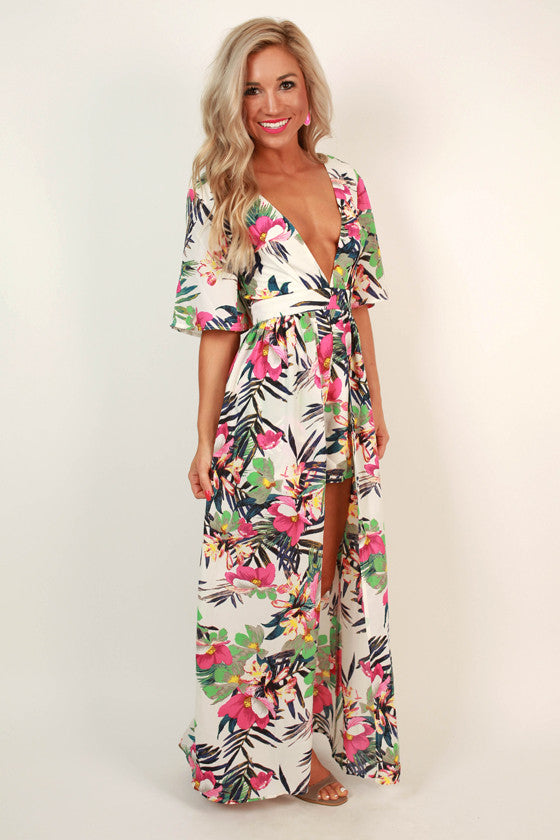 Haute in Hawaii Floral Maxi in Ivory