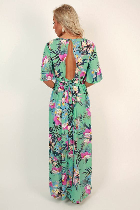 Haute in Hawaii Floral Maxi in Turquoise