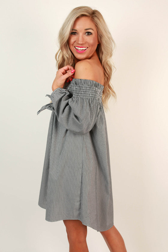 By the Seashore Off the Shoulder Stripe Top in Dark Grey