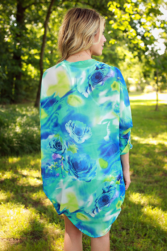 Island of Love Floral Overlay in Snorkel Blue