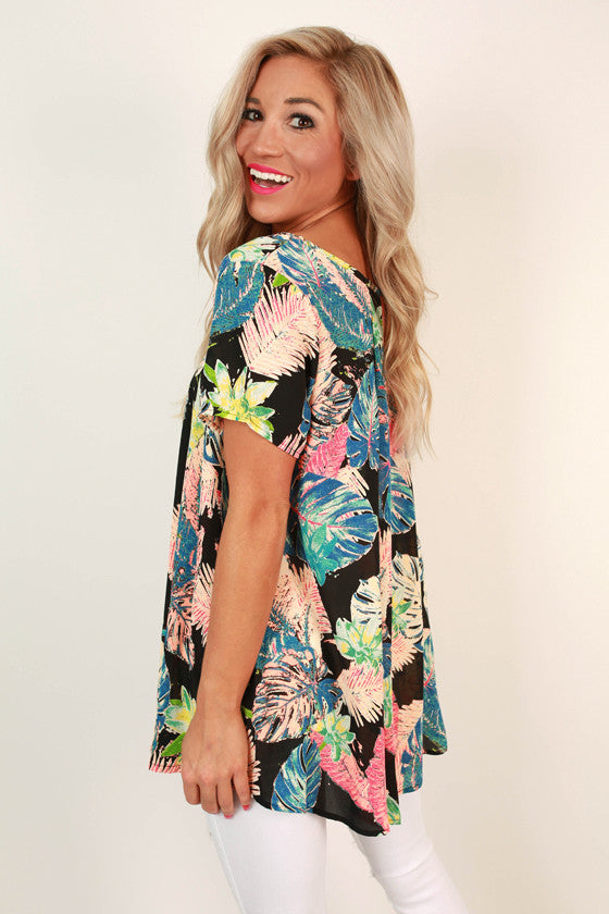 Meet Me in the Tropics Top in Black
