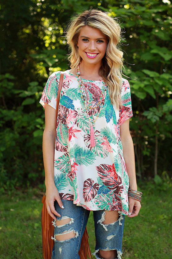 Meet Me in the Tropics Top in White