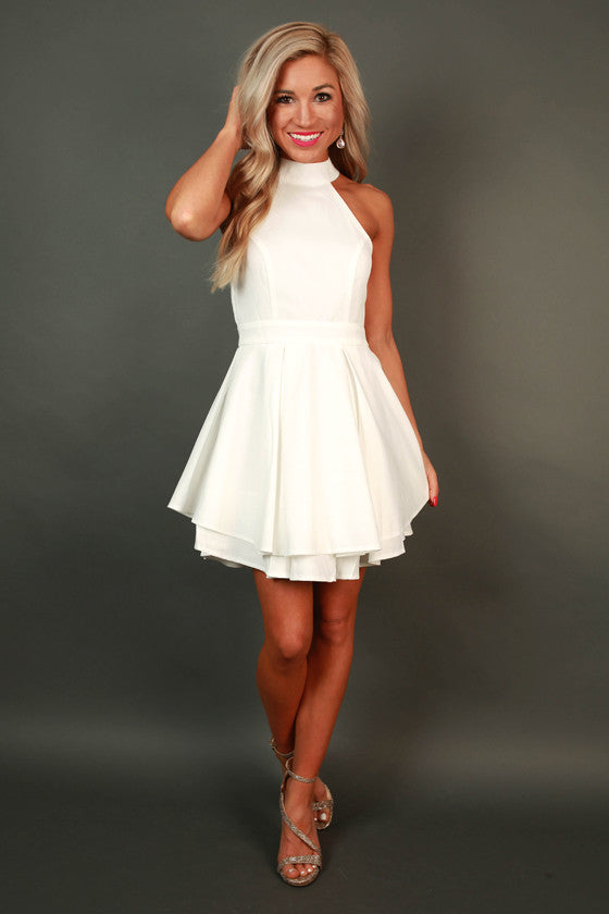 French Riviera Vacation Fit & Flare Dress in White