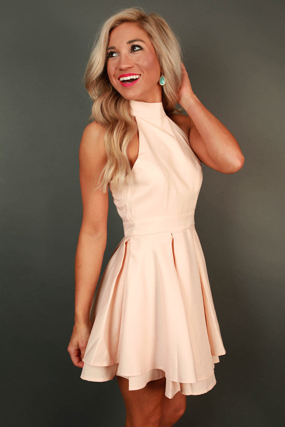 French Riviera Vacation Fit & Flare Dress in Nude