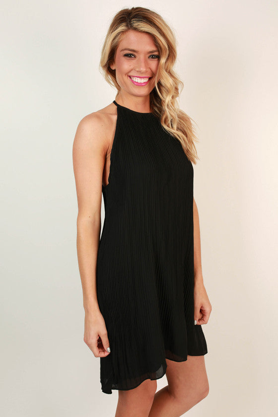 Pretty in Pleats Shift Tunic in Black