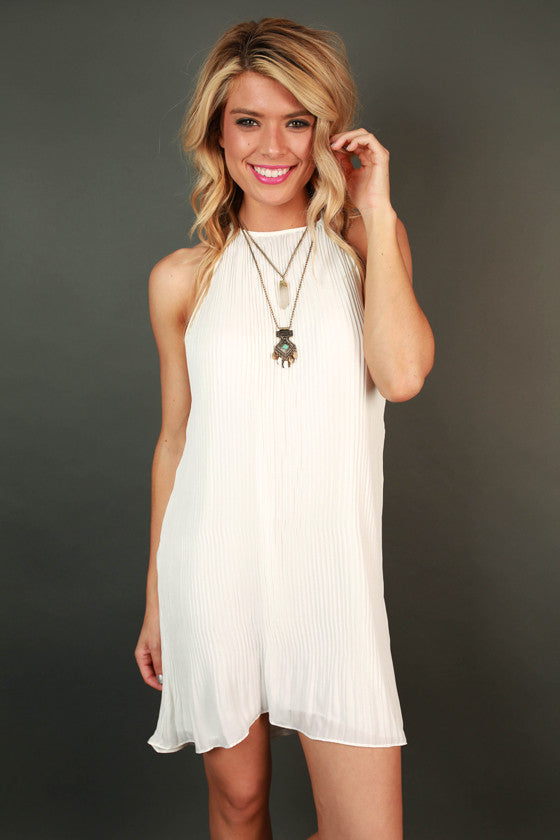 Pretty in Pleats Shift Tunic in White