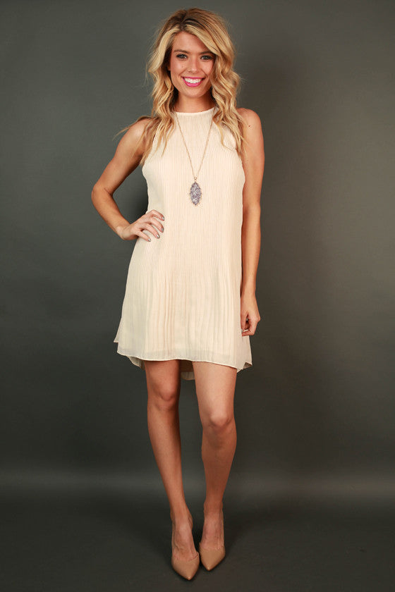 Pretty in Pleats Shift Tunic in Cream