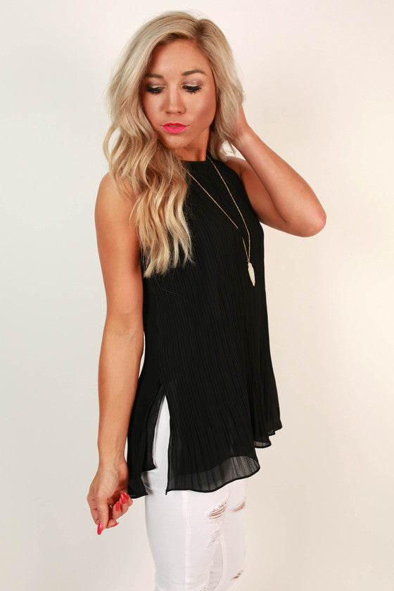 Pretty in Pleats Shift Tank in Black