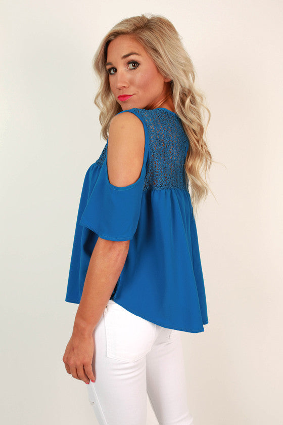 American Beauty Cold Shoulder Top in Blue