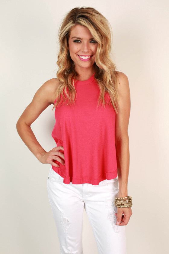 Nantucket Getaway Top in Hot Pink
