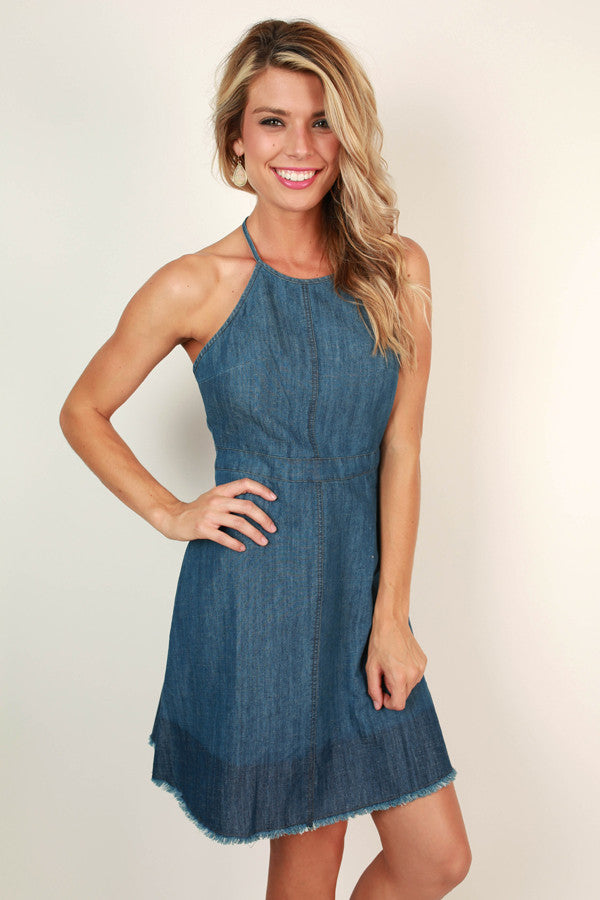 Crushin' It in Chambray Halter Dress