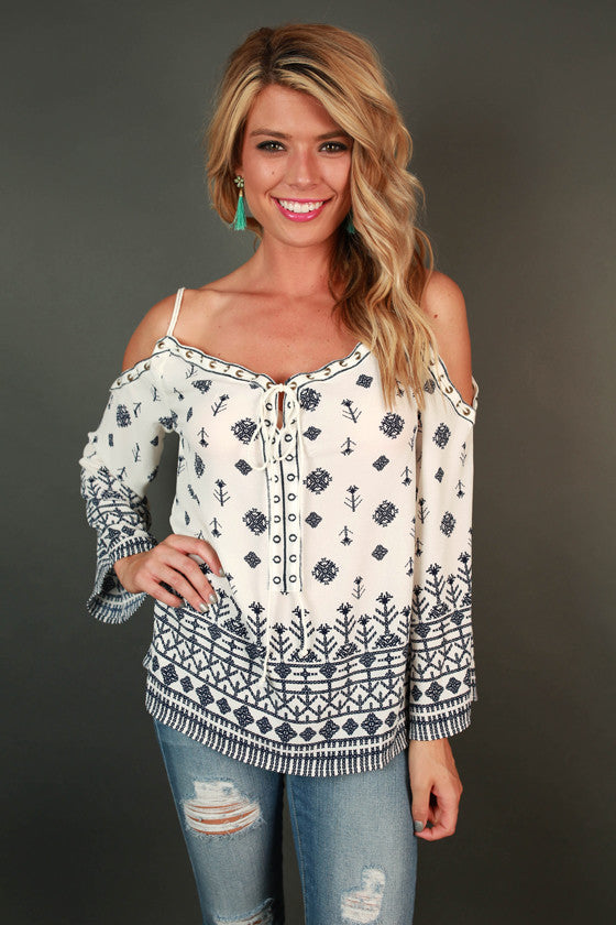 Pretty in Print Off Shoulder Top