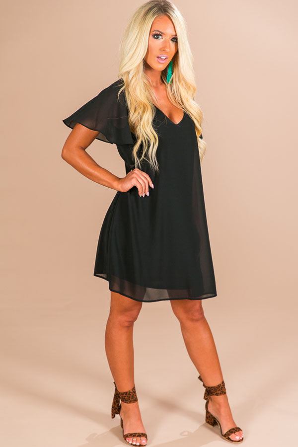 Stunningly Chic Shift Dress in Black