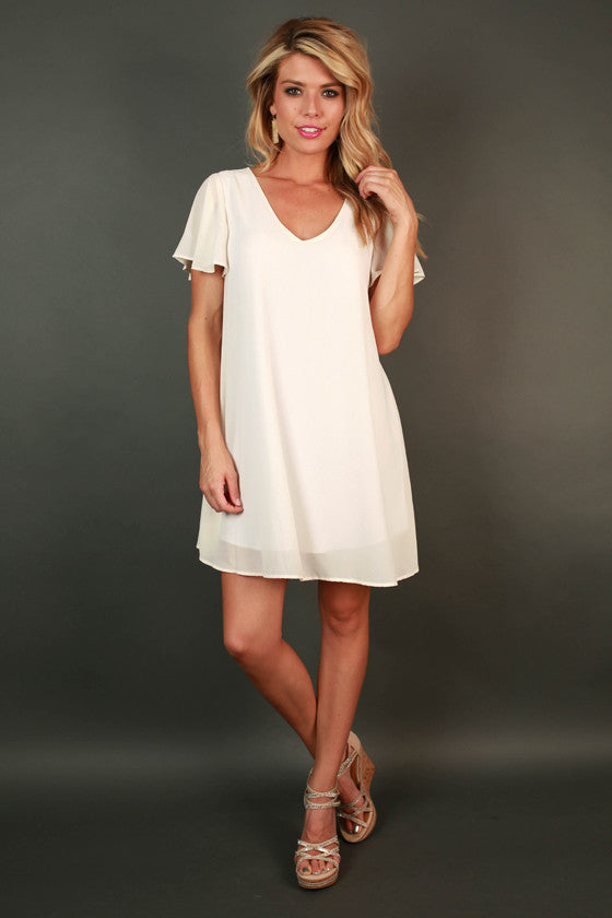 Stunningly Chic Shift Dress in Ivory